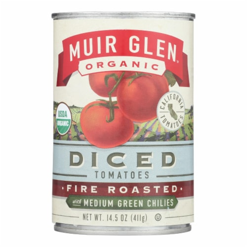 Muir Glen Fire Roasted Diced Tomatoes with Green Chilies-Green Chilies-Case of 12 - 14.5 oz. Perspective: front
