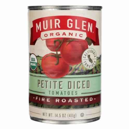 Muir Glen Fire Roasted Diced Tomatoes - Tomato - Case of 12 - 14.5 oz. Perspective: front