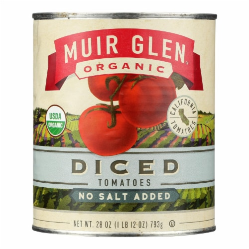 Muir Glen Organic Tomatoes - Diced - No Salt - Case of 12 - 28 oz Perspective: front