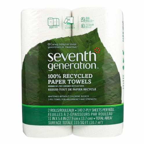 Seventh Generation Recycled Paper Towels - White - Case of 12 - 140 Sheets Perspective: front