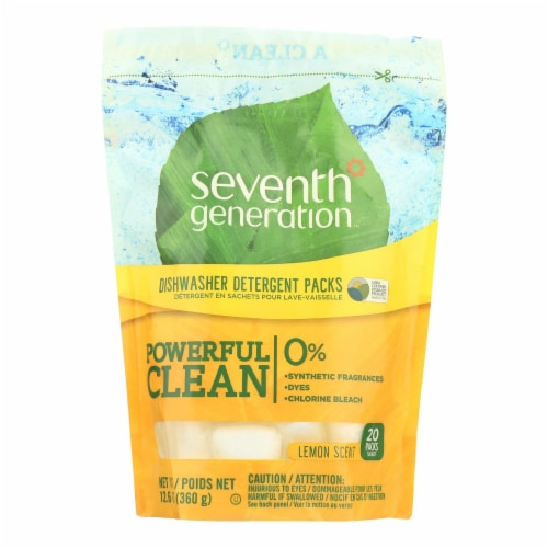 Seventh Generation Auto Dish Packs - Free and Clear - Case of 12 - 20 Count Perspective: front