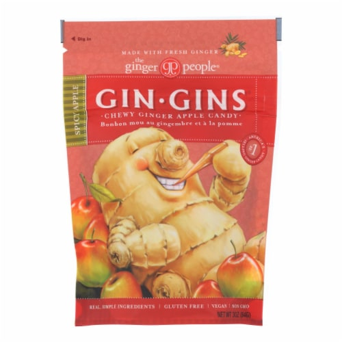 Ginger People Chewy Ginger Candy - Spicy Apple - Case of 12 - 3 oz. Perspective: front