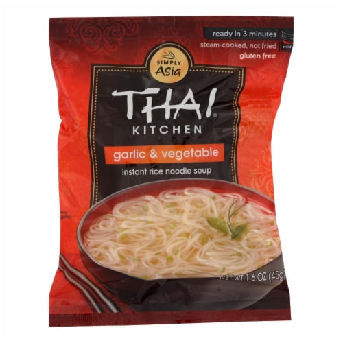 Thai Kitchen Instant Rice Noodle Soup - Garlic and Vegetable - Mild - 1.6 oz - Case of 6 Perspective: front