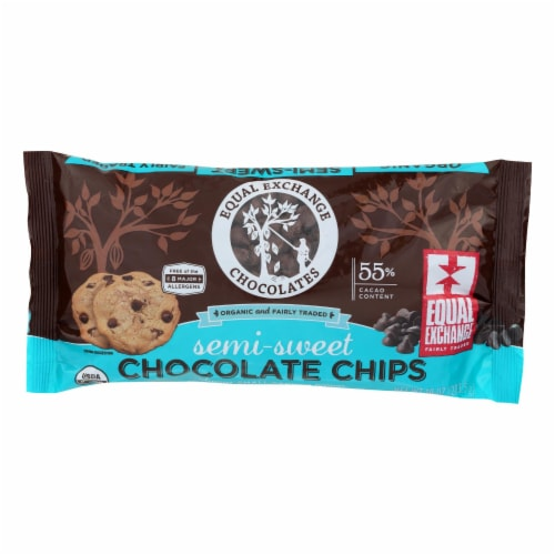 Equal Exchange Organic Chocolate Chips - Semi-Sweet - Case of 12 - 10 oz. Perspective: front