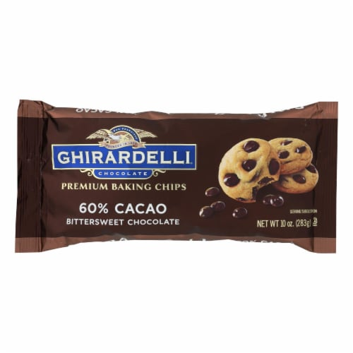 Ghirardelli Cacao Bittersweet - Chocolate Baking Chips - Case of 12 - 10 oz. Perspective: front