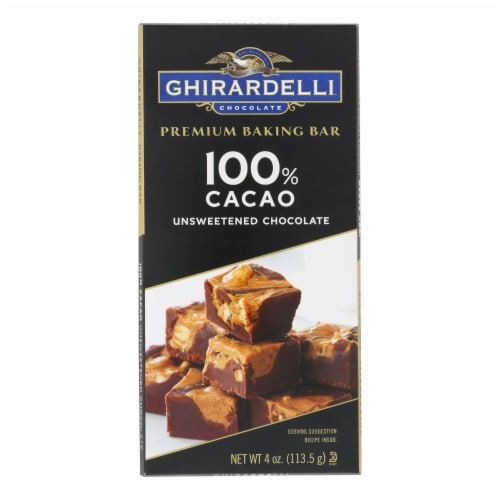 Ghirardelli Premium Baking Bar - 100% Cacao Unsweetened Chocolate - Case of 12 - 4 oz Perspective: front