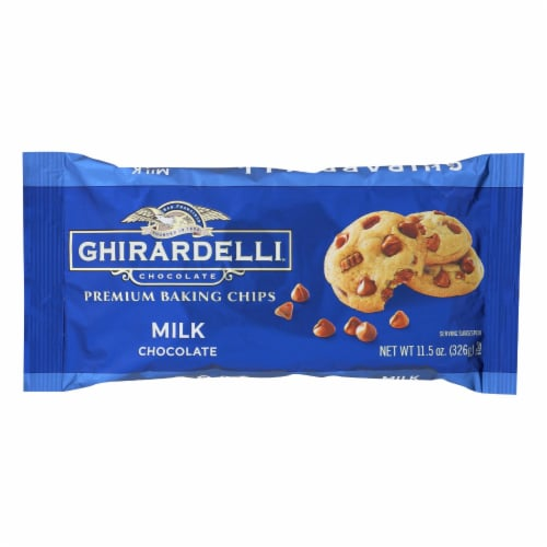 Ghirardelli Baking Chips - Milk Chocolate - Case of 12 - 11.5 oz. Perspective: front