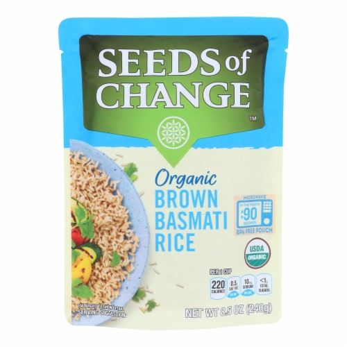 Seeds of Change Organic Rishikesh Brown Basmati Rice - Case of 12 - 8.5 oz. Perspective: front