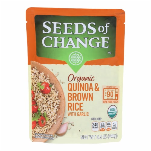 Seeds of Change Organic Quinoa and Brown Rice with Garlic - Case of 12 - 8.5 oz. Perspective: front