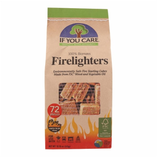 If You Care Wood Starting Cubes - Firelighters - Case of 12 - 72 Count Perspective: front