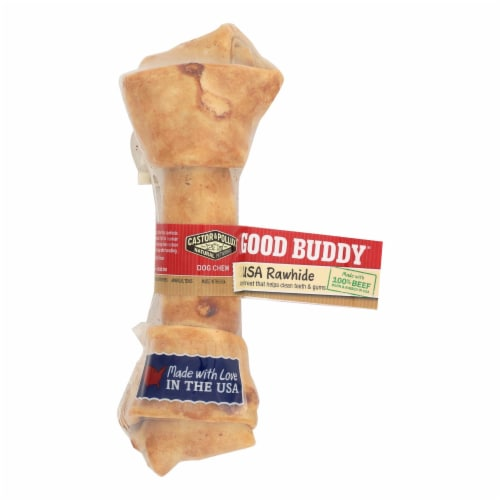 Castor and Pollux Good Buddy Rawhide Bone Dog Treat - 6-7 inch - Case of 12 Perspective: front