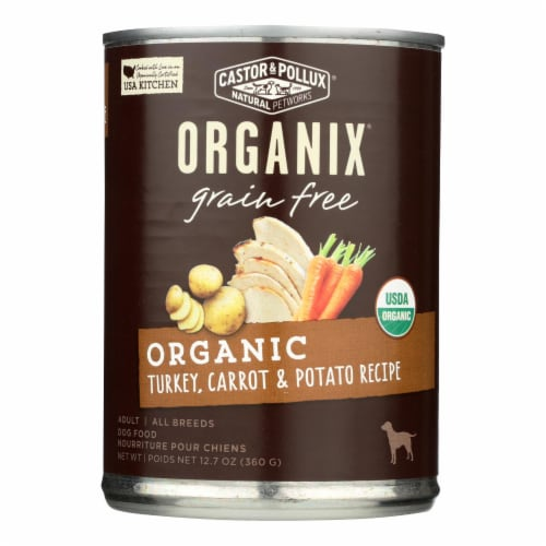 Castor and Pollux Organic Grain Free Dog Food - Turkey and Carrot and Potato -12Case-12.7oz Perspective: front