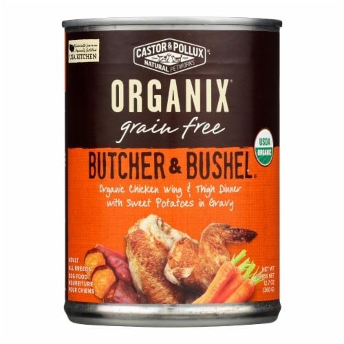 Castor and Pollux Organic Dog Food - Chicken Wing and Thigh - Case of 12 - 12.7 oz. Perspective: front