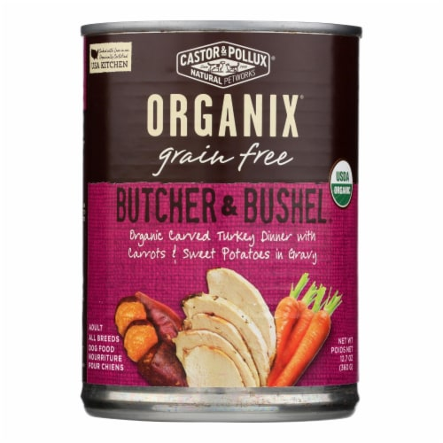 Castor and Pollux Org Dog Food - Turkey Dinner w Fresh Carrots n Sweet Potats -12Case-12.7oz Perspective: front