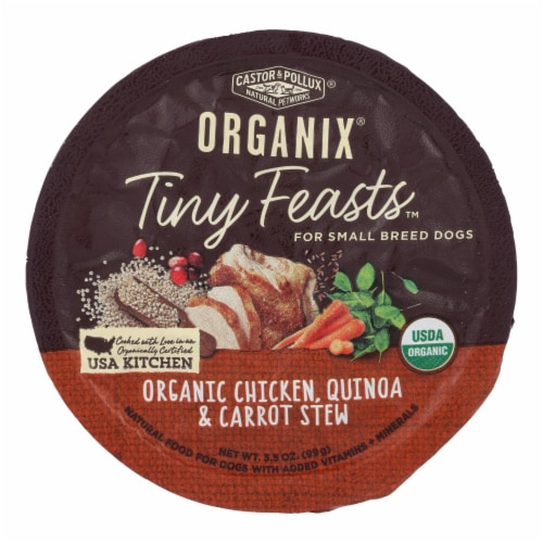 Castor & Pollux Wet Dog Food Org Tiny Feasts Chicken Quinoa & Carrot Stew-Case of 12-3.5oz Perspective: front