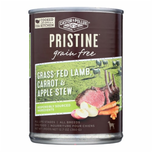 Castor & Pollux Dog Food Prstine Grain-Free Grass-Fed Lamb Carrot,Apple Stew-12Case-12.7oz Perspective: front