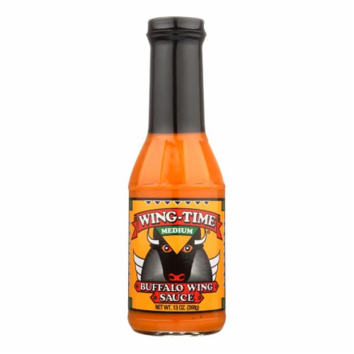 Wing Time The Traditional Buffalo Wing Sauce - Medium - Case of 12 - 13 oz. Perspective: front