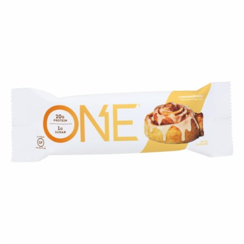 One Cinnamon Roll Protein Bar  - Case of 12 - 60 GRM Perspective: front