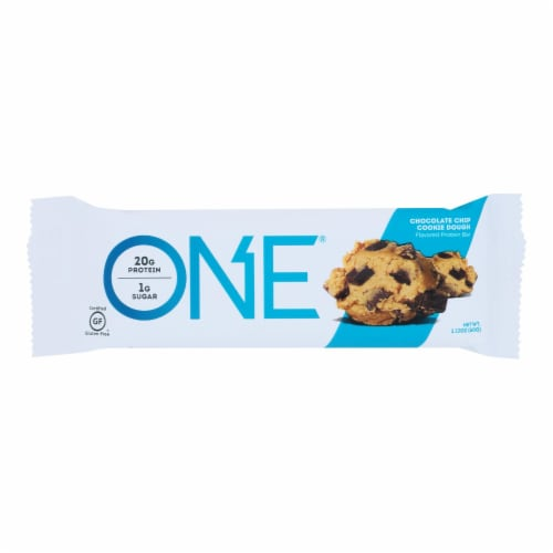 One Chocolate Chip Cookie Dough Flavored Protein Bars  - Case of 12 - 60 GRM Perspective: front