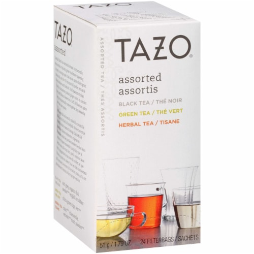 Tazo Black, Green and Herbal Assorted Carton Enveloped Hot Tea Bags, 24 count -- 6 per case Perspective: front
