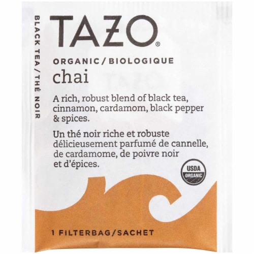 Tazo Organic Chai Enveloped Hot Tea Bags, 24 count -- 6 per case Perspective: front