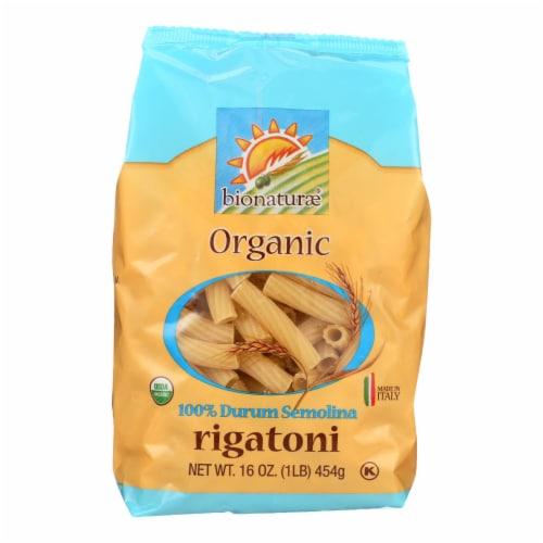 Bionaturae Pasta - Organic Durum Semolina Rigatoni - Case of 12 - 16 oz. Perspective: front