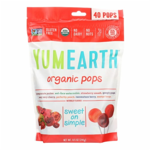 Yummy Earth Organics Lollipops - Organic Pops - 40 Plus - Assorted - 8.5 oz - Case of 12 Perspective: front