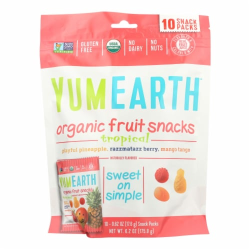 Yummyearth Organic Tropical Fruit Snacks - Case of 12 - 6.2 OZ Perspective: front