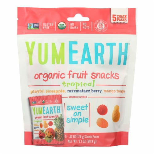 Yumearth Organics Organic - Raspberry - Pineapple - Mango - Case of 12 - 3.1 oz. Perspective: front