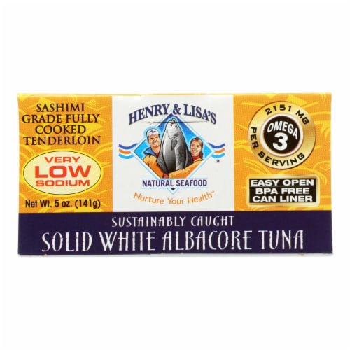 Henry and Lisa Natural Seafood Tuna - Solid White Albacore No Salt Added - 5 oz - case of 12 Perspective: front
