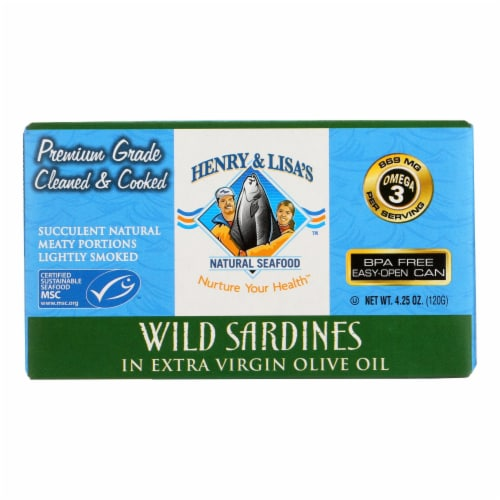 Henry and Lisa's Natural Seafood - Wild Sardines Extra Virgin Olive Oil - Case of 12 - 4.25oz Perspective: front