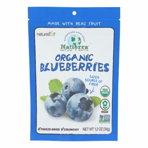 Natierra Fruit - Organic - Freeze Dried - Blueberries - 1.2 oz - case of 12 Perspective: front