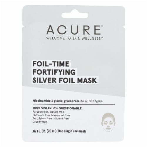 Acure - Mask - Foil - Time Fortifying Silver Foil Mask - Case of 12 - 0.67 fl oz. Perspective: front