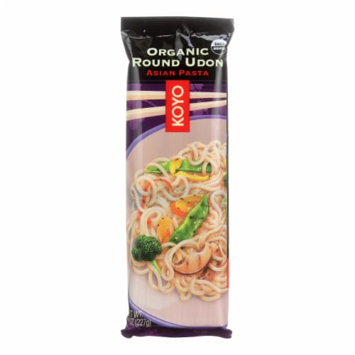 Koyo Organic Round Udon Noodles - Case of 12 - 8 OZ Perspective: front