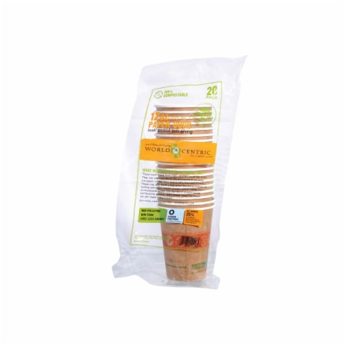 World Centric Compostable Hot Paper Cups - Case of 12 - 12 oz. Perspective: front