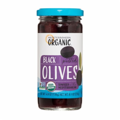 Mediterranean Organic Organic Ripe Pitted Black Olives - Case of 12 - 8.1 OZ Perspective: front