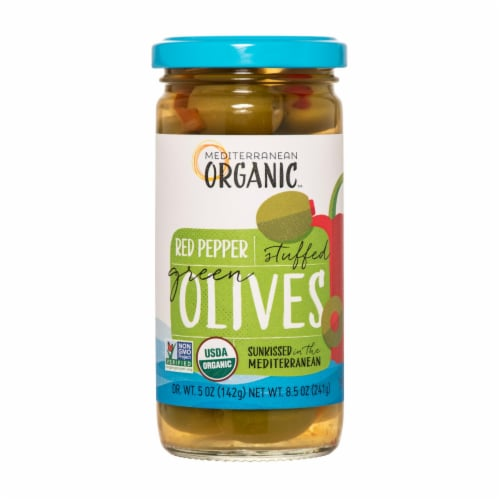 Mediterranean Organic Organic Stuffed Green Olives Red Peppers - Case of 12 - 8.5 OZ Perspective: front