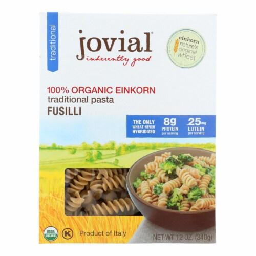 Jovial - Gluten Free Brown Rice Pasta - Fusilli - Case of 12 - 12 oz. Perspective: front