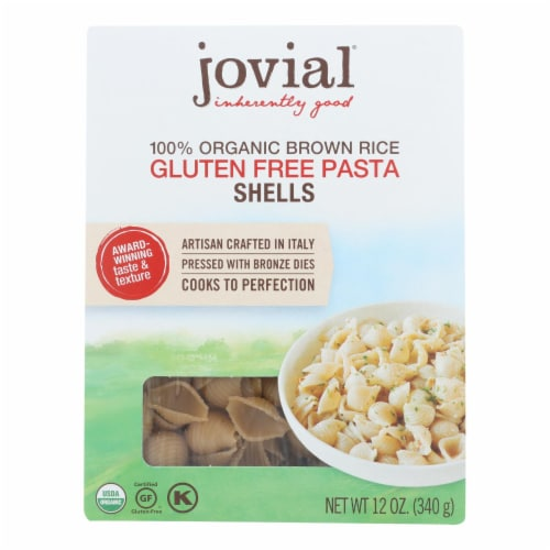 Jovial - Organic Brown Rice Pasta - Shells - Case of 12 - 12 oz. Perspective: front