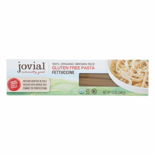Jovial - Organic Brown Rice Pasta - Fettuccine - Case of 12 - 12 oz. Perspective: front