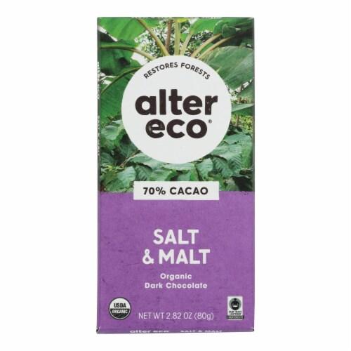 Alter Eco Americas Organic Chocolate Bar - Dark Salt & Malt - Case of 12 - 2.82 oz Perspective: front