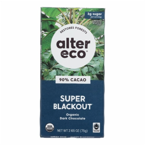 Alter Eco Americas Organic Chocolate Bar - Dark Super Blackout - Case of 12 - 2.65 oz Perspective: front