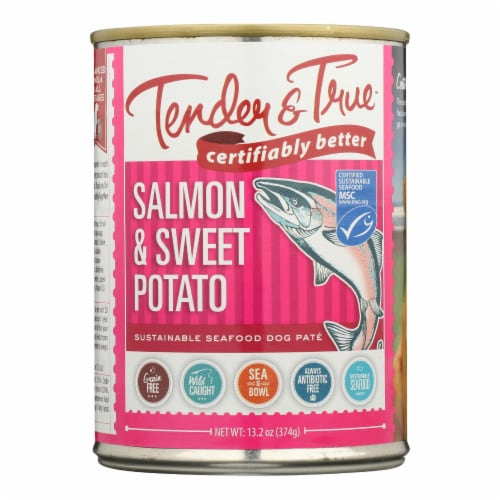 Tender & True - Dog Food Salmon&swt Pot - Case of 12 - 13.2 OZ Perspective: front