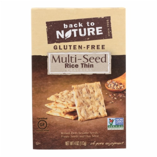 Back To Nature Seed Rice Thin Crackers - Brown Rice Sesame Poppy and Flax Seed -12PACK - 4 oz Perspective: front
