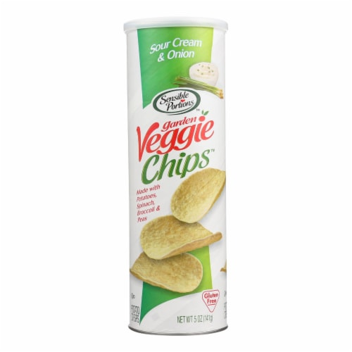 Sensible Portions Sour Cream & Onion Garden Veggie Chips In A Canister  - Case of 12 - 5 OZ Perspective: front