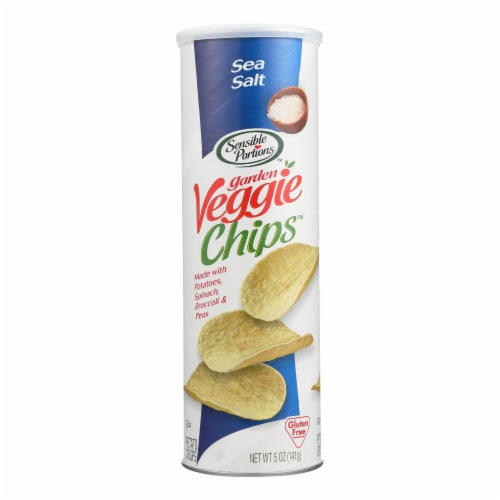 Sensible Portions Sea Salt Garden Veggie Chips In A Canister  - Case of 12 - 5 OZ Perspective: front