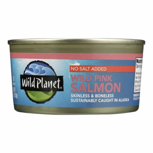 Wild Planet Wild Alaskan Pink Salmon - No Salt Added - Case of 12 - 6 oz. Perspective: front