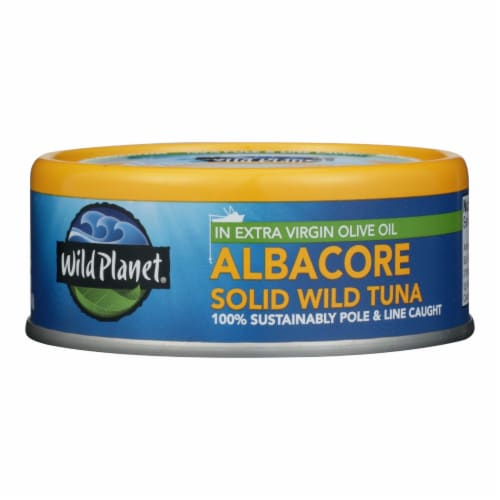 Wild Planet Wild Albacore Tuna In Extra Virgin Olive Oil - Case of 12 - 5 oz. Perspective: front