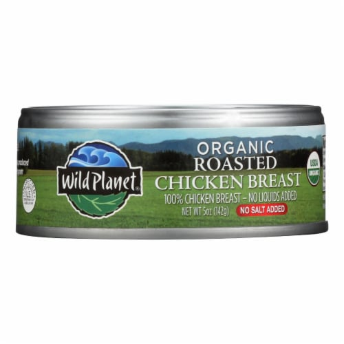 Wild Planet Organic Roasted Chicken Breast - No Salt Added - Case of 12 - 5 oz. Perspective: front