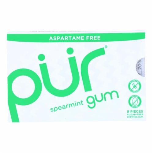 Pur Gum - Spearmint - Aspartame Free - 9 Pieces - 12.6 g - Case of 12 Perspective: front